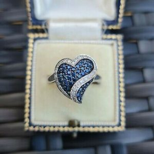 Romantic, Sapphire & Diamond heart dress ring in 10ct, 10k, 417 White Gold