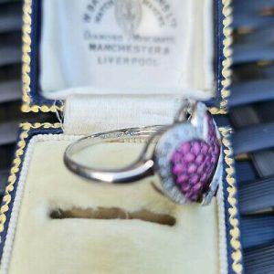 Romantic, 10ct, 10k, 417 White Gold, Pink Sapphire & Diamond, heart dress ring