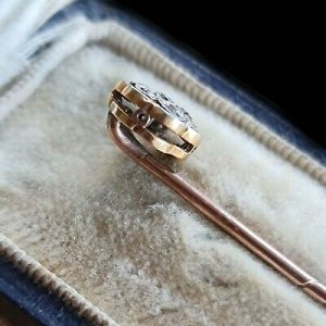 Art Deco platinum & 15ct rose gold Diamond cluster, daisy stick/tie/cravat pin