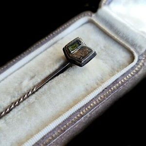 """RARE Antique 15ct/15k 625 rose Gold Mourning hair """"forget me not"""" stick/tie pin"""