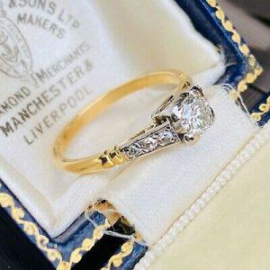 SOLD - Art Deco 18ct/18k 750 Gold & Platinum Diamond (0.50ct) Solitaire engagement ring