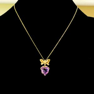 Vintage 9ct, 9k, 375 Gold, Amethyst heart & bow pendant on chain, London 1960