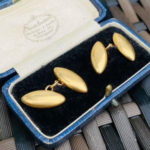 Victorian 18ct/18k 750 Gold Torpedo cufflinks, chain fittings, William J Holmes