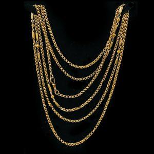 "Edwardian 9ct, 9k, 375 Gold Muff, guard, fancy link chain, length 61.5""/156cm"