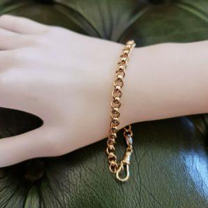 Vintage 9ct/9k, 375 Gold double belcher link bracelet w. dog clip clasp fittings