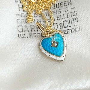 Antique, Victorian 9ct/9k, 375 gold enamel heart pendant on chain, Engraved
