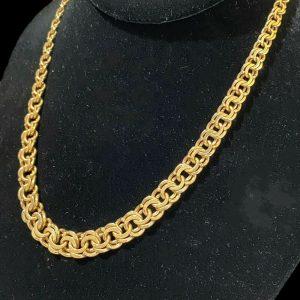 """Vintage 9ct, 9k, 375 Gold bismark link graduated chain, necklace. Length 16.75"""""""