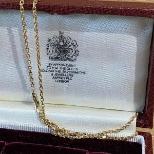 """Vintage 9ct, 9k, 375 Gold square belcher link chain, length 18.5"""" / 47cm, 4.1g"""