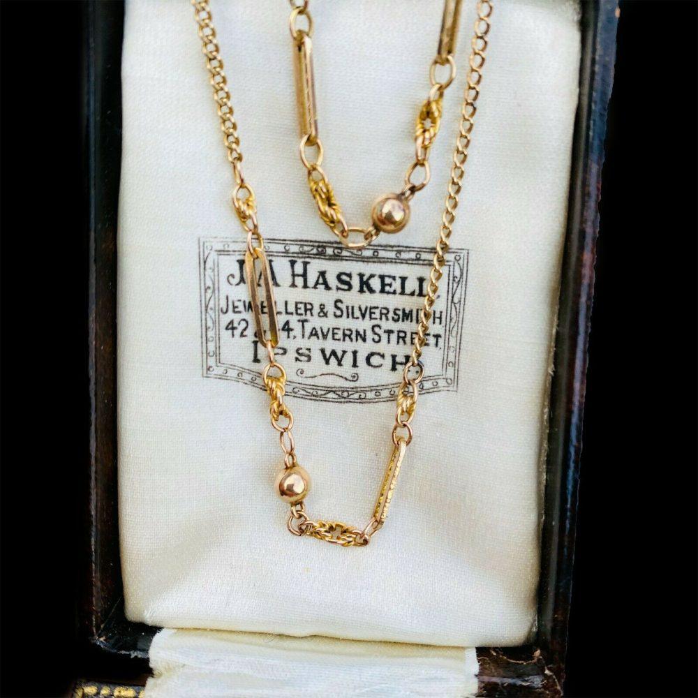 "Pretty, Edwardian 9ct, 9k, 375 Gold fancy link chain, length 18.5"" / 47cm, C1901"