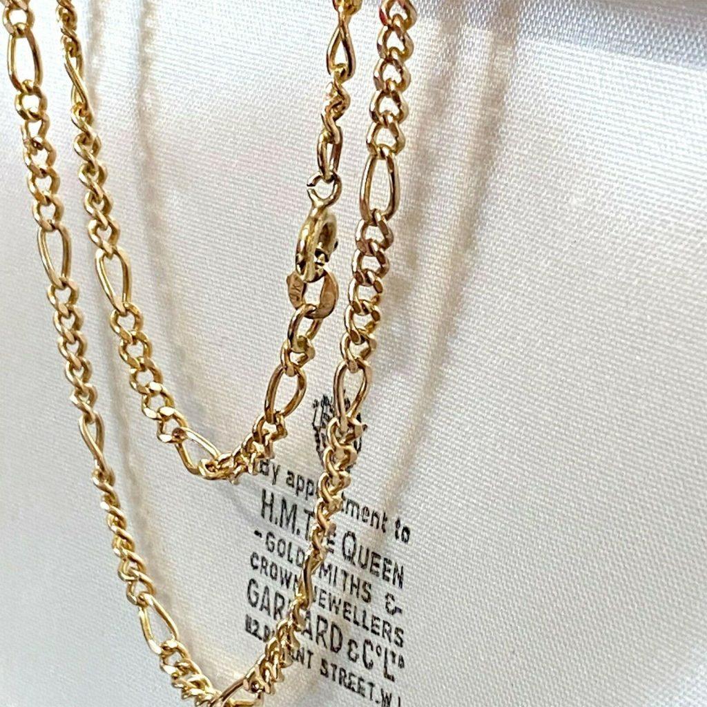 """Lovely, Vintage 9ct, 9k, 375 Gold figaro link chain, length 21.5"""" / 55cm, 10gram"""