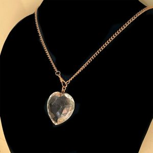 Stunning, Antique 9ct, 9k, 375 Rose Gold, large rock crystal heart pendant,C1880