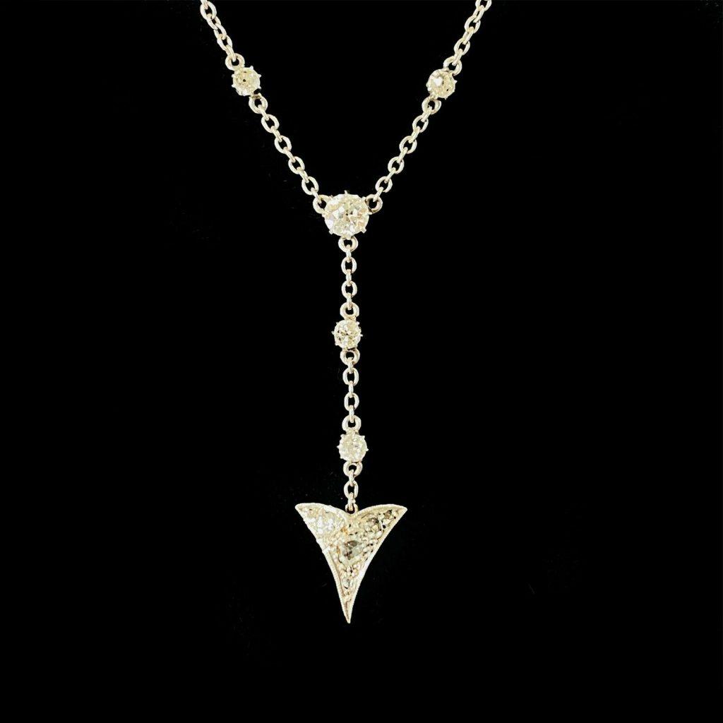 Art Deco Platinum & 18ct Gold, old-cut Diamond 0.80ct Arrow, lariat necklace