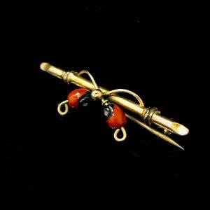 Fine, Victorian 9ct, 9k, 375 Gold, Huayruro seed, wedding, bar brooch, tie pin, C1890