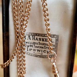"Edwardian 9ct, 9k, 375 Rose Gold pocket watch chain, length 23.75"" / 60.5cm"