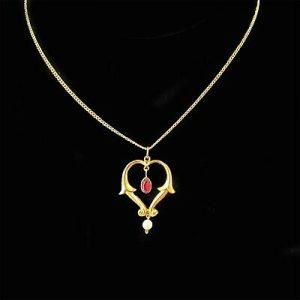 Exquisite Art Nouveau 9ct, 375 Gold Garnet & Pearl Lavalier, heart Pendant C1890