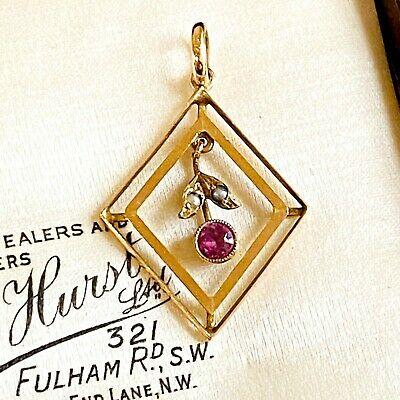 Art Nouveau 9ct, 375 Rose Gold pink Tourmaline & Pearl Lavalier, Pendant, C1900