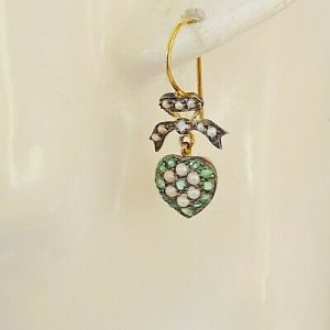 Victorian style, Emerald, Pearl & Diamond bow and heart drop earrings