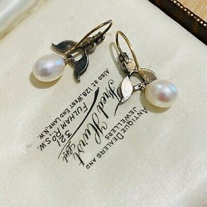 Georgian gold & Silver, rose cut Diamond with modern Pearl drop earrings