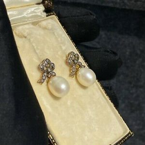 Victorian style, Diamond bow and Pearl drop earrings
