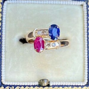 """Vintage 14ct/14k, 585 Gold Sapphire, Ruby & Diamond """"Toi et Moi"""" you and me Ring"""