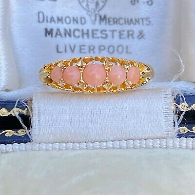 Edwardian 18ct, 18k, 750 Yellow Gold, Chester Coral five stone carved hoop ring