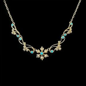 Edwardian 9ct, 9k, 375 Gold Turquoise & Pearl floral, lavaliere, necklace, C1900