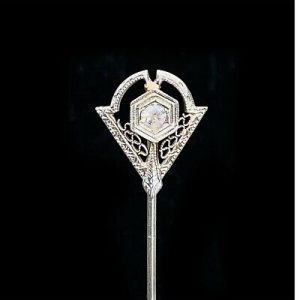 Art Deco 10k, 10ct, 417 white Gold Geometric Diamond filigree Stick pin