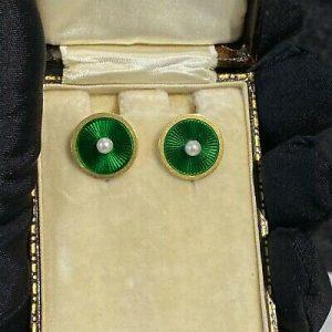 Art Deco pair of 18ct, 18k, 750 Gold, Guilloche Enamel & Pearl disc Earrings