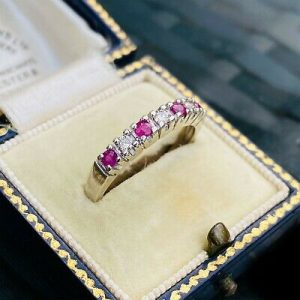 Vintage 9ct, 9k, 375 white gold, Ruby & Diamond half eternity, anniversary ring
