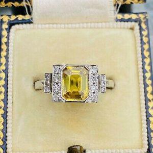 Fabulous, Art Deco, Platinum, yellow Sapphire & Diamond 2.04cts engagement ring