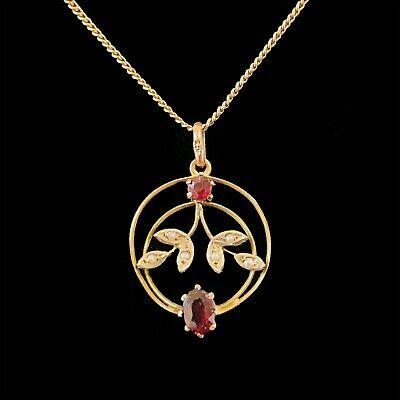 Victorian 9ct, 9k, 375 Gold, Garnet and Pearl foliate design pendant, Circa 1895
