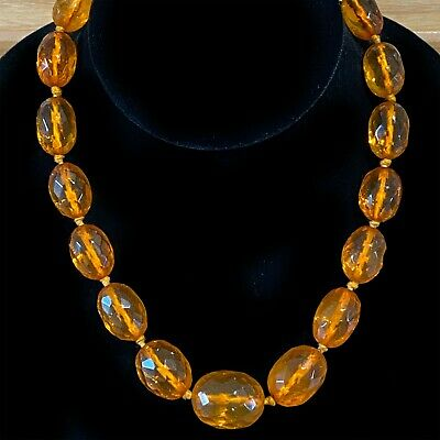 Antique, Genuine Baltic Amber Necklace on 9ct gold clasp, 32 Grams