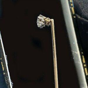 Fine, Edwardian 15ct,15k, 625 Gold old-cut Diamond 0.25ct stick, tie, cravat pin