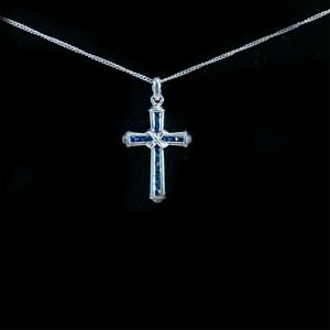"""Pretty 9ct, 9k, 375 white gold pave-set Sapphire cross and 17.5"""" chain"""