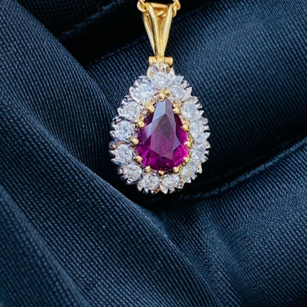Gorgeous 18ct, 18k, 750 gold, Ruby & Diamond cluster/pear pendant, London 1979