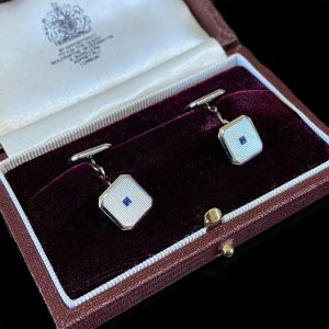 Art Deco 9ct gold mother of pearl & sapphire cufflinks new black leatherette box