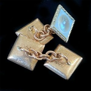 Edwardian, 9ct, 9k, 375 Rose Gold Mother of Pearl cufflinks in new box, C1910