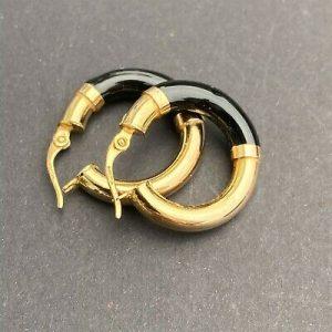 Fabulous pair of 9ct, 9k, 375 Yellow Gold & Onyx hoop Earrings, 22.3mm