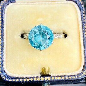 Art Deco Platinum, blue Zircon (3.60ct) and Diamond engagement ring, Circa 1920