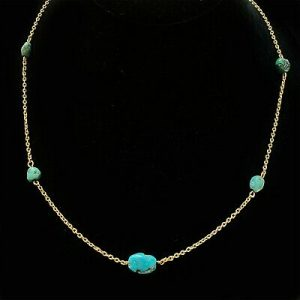 """Victorian 18ct, 18k, 750 Gold chain and Turquoise bead necklace, length 20.5"""""""