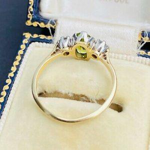 Art Deco 18ct, 18k, 750 Gold, Platinum, Peridot & Diamond 1.34ct, 3 stone ring