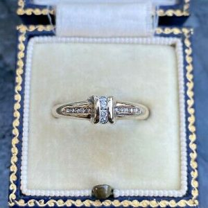 Pretty 9ct, 9k, 375 gold, Diamond, stacker, half eternity ring