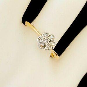 Pretty, Art deco, 18ct, 18k, 750 Gold, Diamond, Daisy, cluster engagement ring