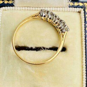 Edwardian 18ct, 18k, 750 Gold & Platinum Diamond 0.41ct Five Stone Ring, C1910