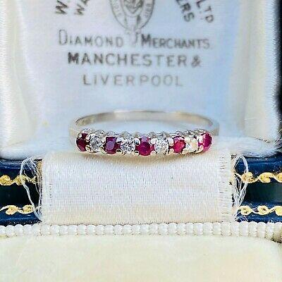 Pretty 18ct/18k, 750 white gold, Ruby & Diamond half eternity, anniversary ring