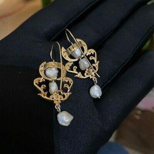 Belle Epoque, 15ct rose gold, Diamond & Baroque Pearl chandelier drop earrings
