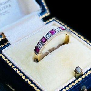 Vintage 18ct/18k, 750 Gold Ruby & Diamond 0.62ct half Eternity, anniversary Ring