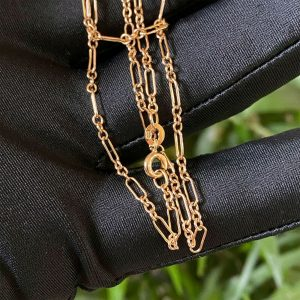 Vintage 9ct, 9k, 375 Gold paperclip link chain with spring ring clasp