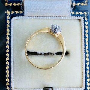 Art Deco 18ct, 18k 750 Gold & Platinum Diamond solitaire 0.36ct engagement ring