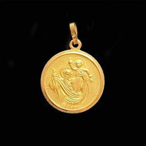 Vintage 9ct, 9k, 375 yellow gold Saint Christopher Pendant, 26 x 18mm